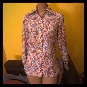 Tops - Vintage 70s button floral button down S/M